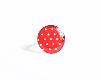 Polka dot ring, bright jewelry, adjustable red ring