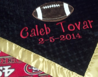 Personalized San Francisco 49ers Football Fleece and Minky Baby Blanket with football applique