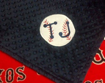 Personalized Boston Red Sox Baseball Fleece and Minky Blanket with baseball applique