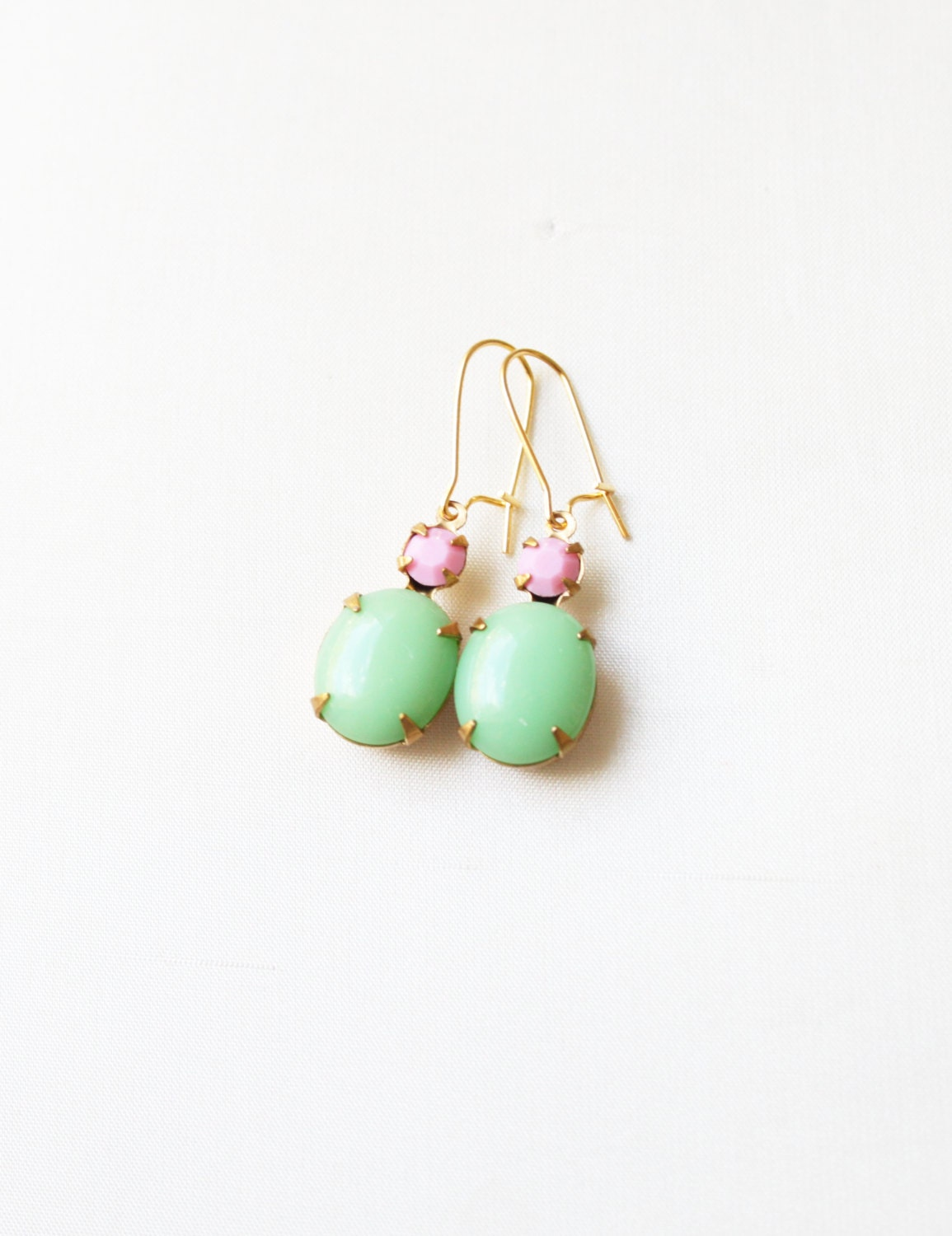 Vintage Spring Green and Pink Glass Cabochon Earrings, Set Stone Earrings, Colored Stone Earrings, Rhinestone Earrings, Bezel Earrings