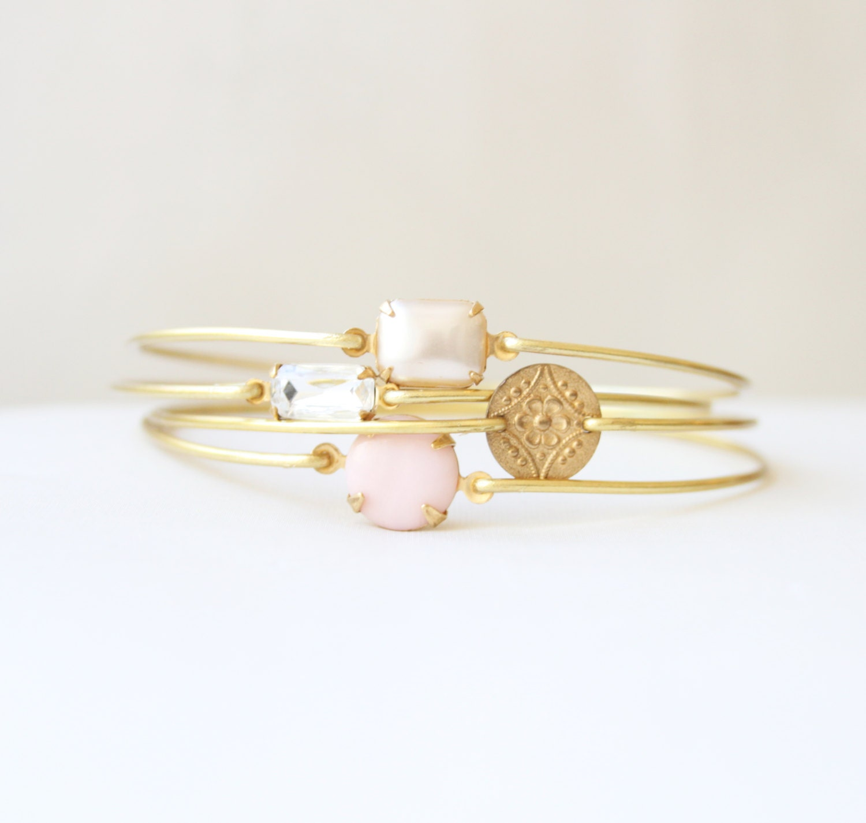 Pink and Pearl Spring Bangle Bracelet Set, Gemstone Bangles, Stackable Bracelets, Colored Stone Bangles