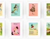Any 4 Vintage Nursery Rhyme Prints from our Store. Instant Collection for Baby or Childs Bedroom