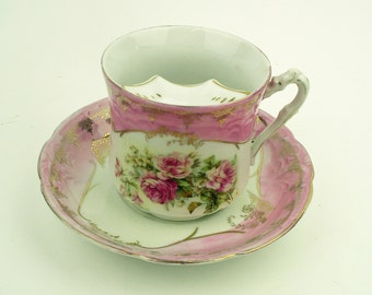 c 1900 Antique Mustache Cup and Saucer