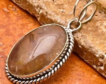 Natural Rutilated Quartz silver plated pendant   (#J44)