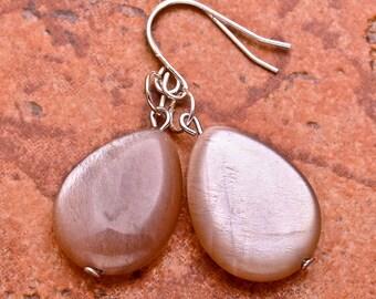 Natural Sunstone 925 sterling silver  earrings   (#J63)