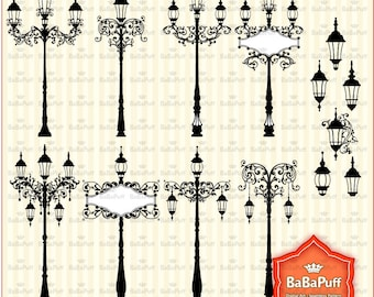 Instant Downloads, Vintage Street Lights Set 1, Clip Art For Wedding Invitations, Cards Making, Personal and Small Commercial Use. BP 0813