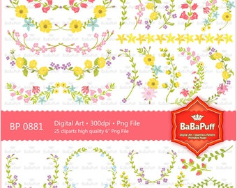 Spring Flowers Clip Art For Wedding Invitation Card, Handmade Craft Project. Personal and Small Commercial Use. BP 0881