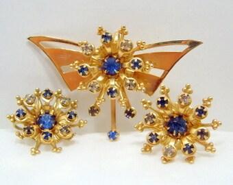 Butterfly Brooch Pendant Earrings Blue Clear Rhinestones Gold Tone Demi Parure P&F