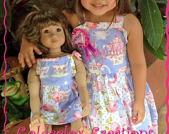 Doll Dresses American Doll Style Dresses To Match Girls  Dresses Pillowcase Cap Sleeve Made To Order