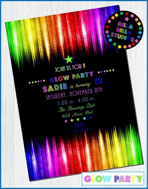 GLOW PARTY - Neon Custom Printable INVITATION ~ Bella Bella Studios by Bella Bella Studios ...
