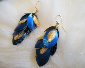 Dangle Chainmaille Earrings in Bright Blue and Gold