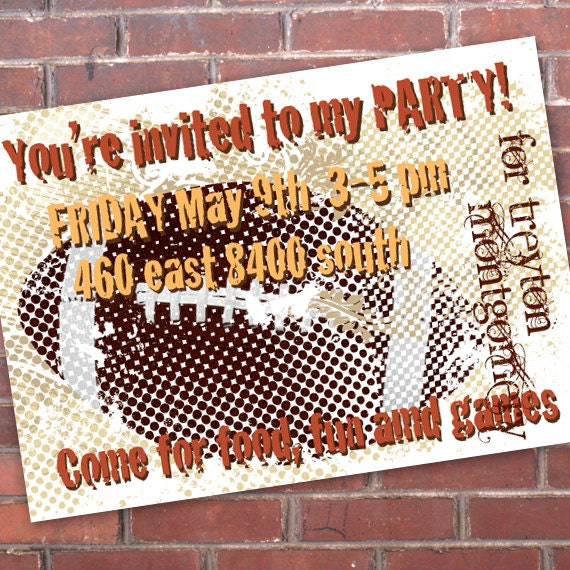 birthday party invitations, football birthday party, sports birthday party, sports birthday, pigskin party, superbowl party