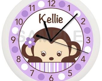 Purple Mod Girl or Boy Monkey Personalized Nursery Wall Clock