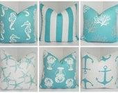 Nautical Decorative Pillow Cover Starfish Seahorse Stripe Coral Blue/White Beach Ocean Pillow Cover All Sizes