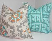Two Turquoise Blue Grey Orange Greek Key Pillow Cover Decorative Throw Pillow 18x18