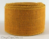"""Wired Burlap Ribbon, 2 1/2"""", Gold - TWO & 6/7 YARDS - Offray #4216 Natural Jute, Rustic Craft , Prim, Fall, Halloween Wire Edged Ribbon"""
