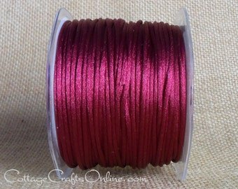 CLEARANCE - Satin Cord String Red Burgundy Rattail, TEN YARDS - May Arts Burgundy Satin Rat Tail Craft Trim - Sale - Destash