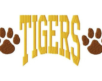 TIGERS- Arched - Paw Prints - Embroidery Design - 13 Sizes