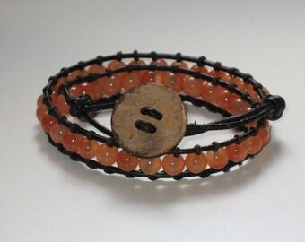 Orange beaded Wrap bracelet