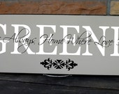 "It's Always Home Where Love Is... 7.5""x19"" sign with Personalized Last Name Detail In Your Choice of Colors"