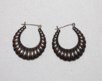 Vintage 70s Silver Loop Gypsy Earrings
