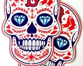 Boston Red Sox 'B Calavera' Vinyl Stickers, Great Gift Idea for any Sox Fan, This Unique and Original Design is Not Available in Stores