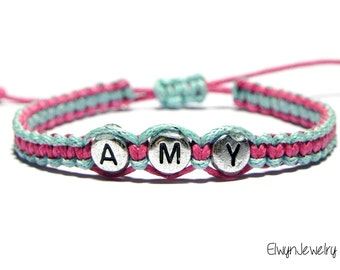 Name Bracelet, Kid Bracelet, Flower Girl Jewelry, Personalized Jewelry, Cord Bracelet, Friendship Bracelet, Little Girl Bracelet
