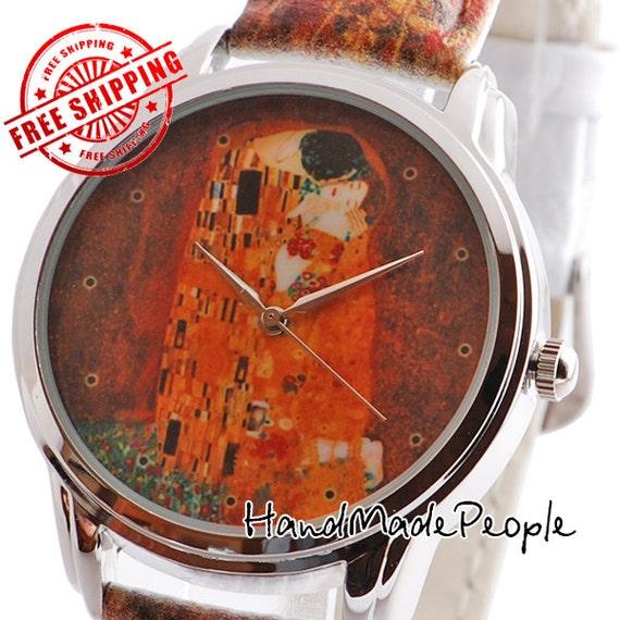 Gustav klimt art wrist watch the kiss watch by handmadepeople for Minimal art wrist watch