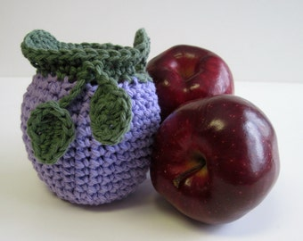 Crochet Apple Cozy Cozies for Fruit  - Lavender Purple with Sage Green Leaves