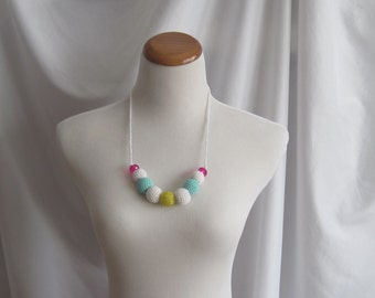 Crochet Covered Bead Necklace - White, Yellow, Aqua and Hot Pink