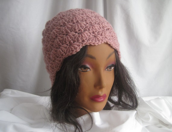 Hat Womans Crochet Hat Dusty Rose Pink Stylish, Chic, Trendy and Lacy Cap Handmade Fashion Accessory