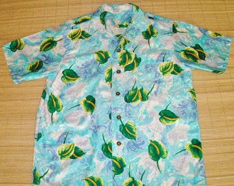 Mens Vintage 60s Mod Floral Hawaiian Aloha Shirt - L - The Hana Shirt Co