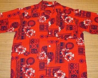 Men's Vintage 60s Tapa Hibiscus Hawaiian Shirt - XL - The Hana Shirt Co