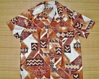 Mens Vintage 60s Duke Kahanamoku Tribal Tapa Hawaiian Shirt - M - The Hana Shirt Co