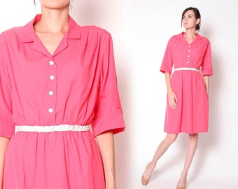 Vintage 80s Coral Pink Housewife Dress / S M