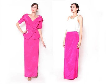 Vintage fuchsia 90s Two Piece Party Dress / Coctail Dress / Formal Dress / S