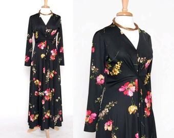 Vintage 70s Black Floral Maxi Dress/ Long Dress