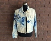 Vintage 90s Denim Jean Jacket / Acid Wash Tie Dye Destructed Cropped Festival Studded Hippie Boho Chic Bohemian Indie Rocker Jacket / S M