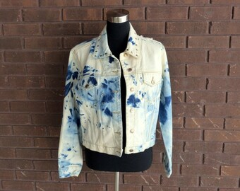 Vintage 90s Denim Jean Jacket / Acid Wash Tie Dye Destructed Cropped Festival Studded Hippie Boho Chic Bohemian Indie Rocker Jacket / S M