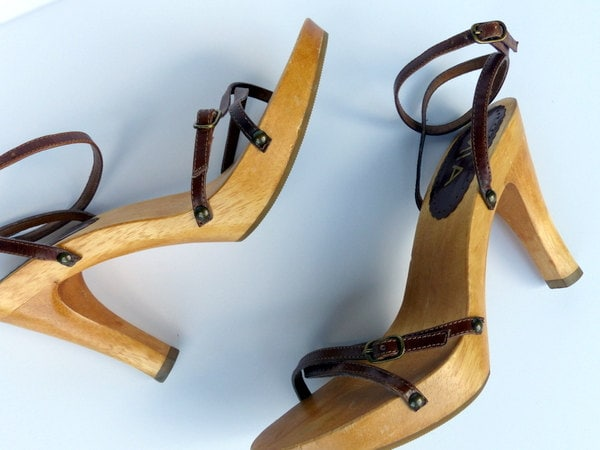 Vintage Mia 70s 80s Wood Platform Shoes Strappy Heels