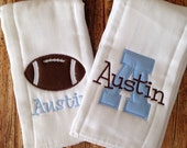Set of 2 Personalized Burp Cloths - Diaper Cloths - Baby Boy - Monogrammed - Gift Set - football