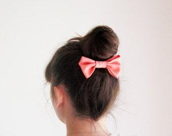 Coral hair bow barrette, women coral hair bow, peach bow hair clip, fabric bow hair clip, cheer hair bow, hair accessory, cute hairbow