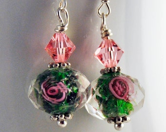 Green and Pink Glass Earrings Swarovski crystals and sterling silver    no. E242