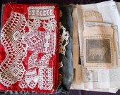 Grannies Antique Crochet Sampler cloth Booklet Crocheted Patterns and old paper patterns