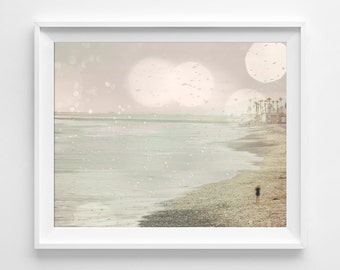 "Dreamy Beach Photograph Unframed / METALLIC paper boardwalk dreamy summer pale green pink pastel / photograph print art /""Searching For You"""