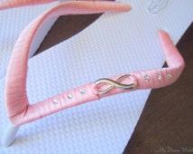 Coral flip flops.Infinity Dusty pink/coral Bridal flip flops.Pale pink w infinity Symbol N Swarovki crystal-. Infinity Collection-02
