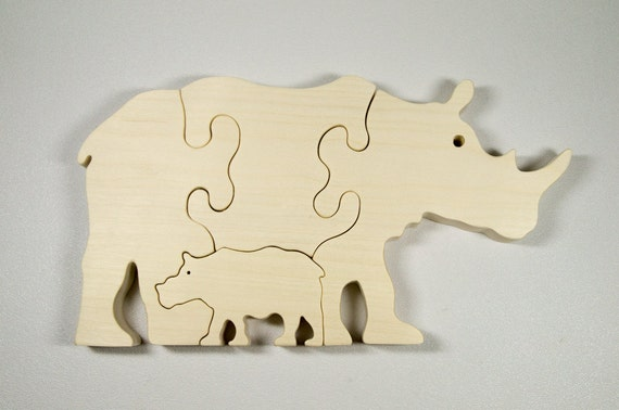 Rhinoceros Puzzle Wood Baby Rhino Eco Friendly and Green for