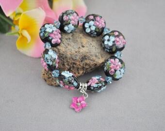 BLUE HAWAIIAN-lentil glass bead flower charm bracelet