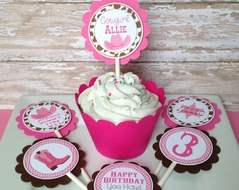 12 Cowgirl Birthday Party Cupcake Toppers