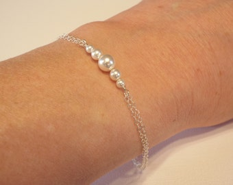Sterling Silver Pearl Bracelet, White Pearl Bracelet, Dainty Minimalist, Bridal, Bridesmaid Gifts, Wedding Jewelry, ALSO in Gold, Rose Gold